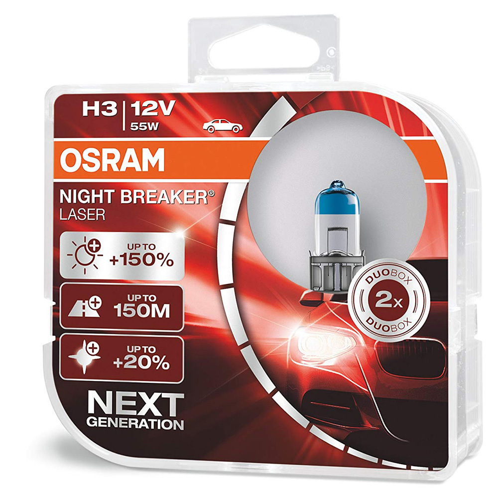 Лампа 64210NL-HCB 55W 12V PX26D H7 BOX2 NIGHT BREAKER LASER OSRAM на 150% больше света на дороге*