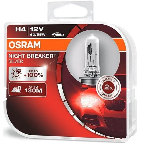 Лампа 64193NBS-HCB 60/55W12V P43T H4 BOX2 NIGHT BREAKER SILVER OSRAM на 100% больше света на дороге*