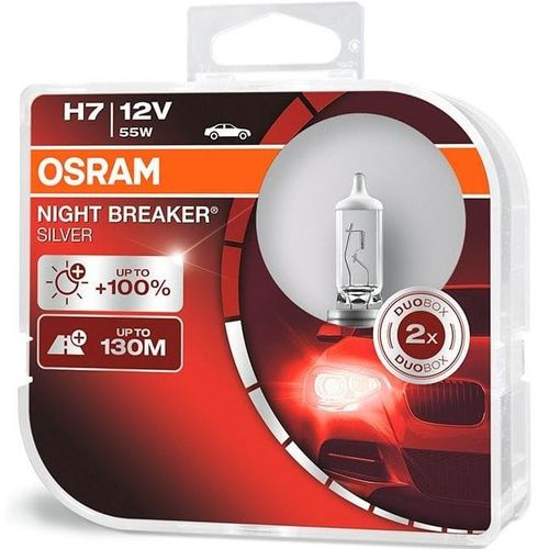 Лампа 64210NBS-HCB 55W 12V PX26D H7 BOX2 NIGHT BREAKER SILVER OSRAM на 100% больше света на дороге*